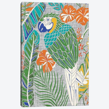 Tropical Macaw 3-Piece Canvas #ZAR691} by Chariklia Zarris Canvas Print