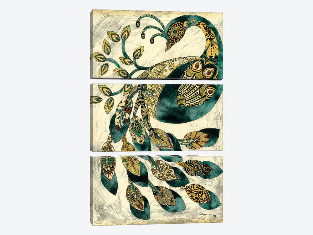 Royal Peacock II 3-piece Canvas Print