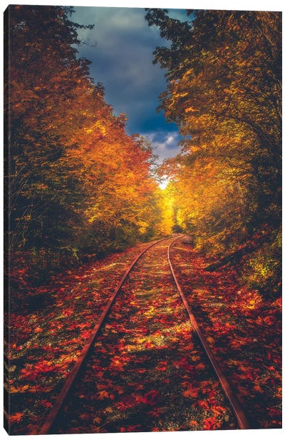 Autumn On The Railroad Canvas Art Print