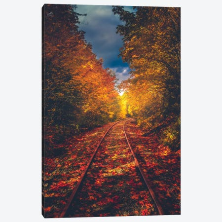 Autumn On The Railroad Canvas Print #ZDO37} by Zach Doehler Canvas Wall Art