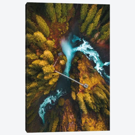 Flying Over The Falls 3-Piece Canvas #ZDO52} by Zach Doehler Canvas Art Print