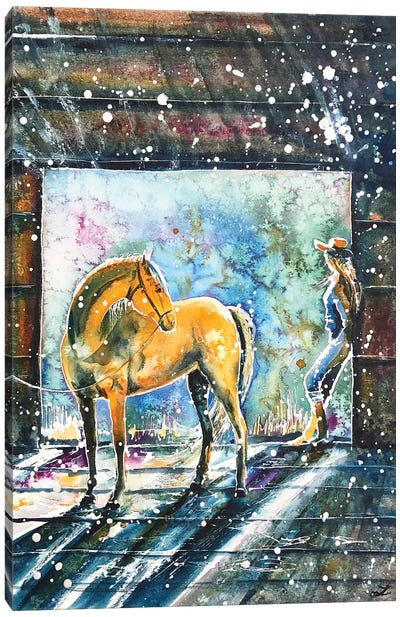 Summer Morning At The Barn Canvas Art Print
