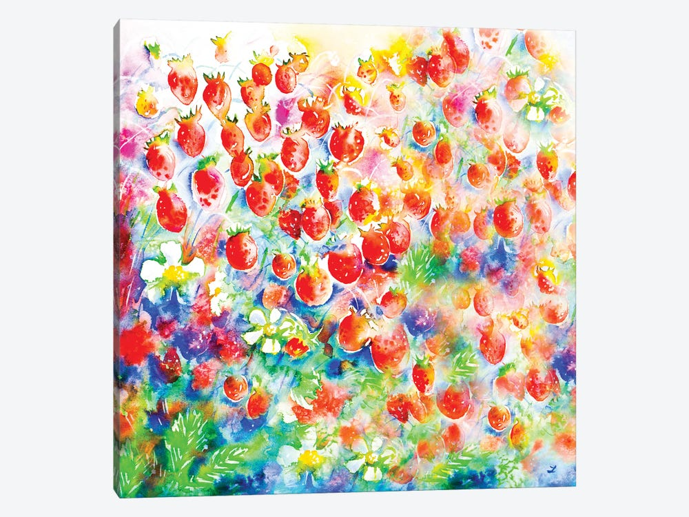 Summer Strawberries by Zaira Dzhaubaeva 1-piece Canvas Art Print