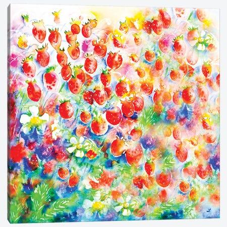 Summer Strawberries 3-Piece Canvas #ZDZ106} by Zaira Dzhaubaeva Canvas Print