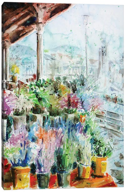 Sunday Flower Market In Bilbao Canvas Art Print