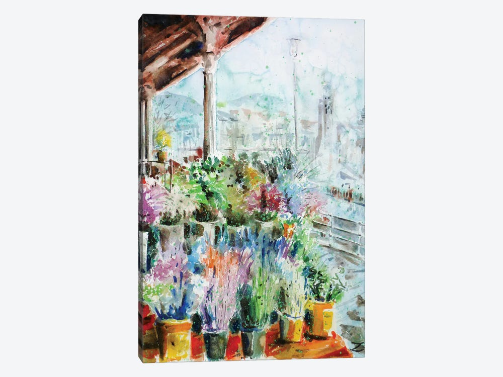 Sunday Flower Market In Bilbao by Zaira Dzhaubaeva 1-piece Canvas Art