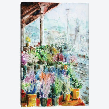 Sunday Flower Market In Bilbao 3-Piece Canvas #ZDZ107} by Zaira Dzhaubaeva Canvas Print