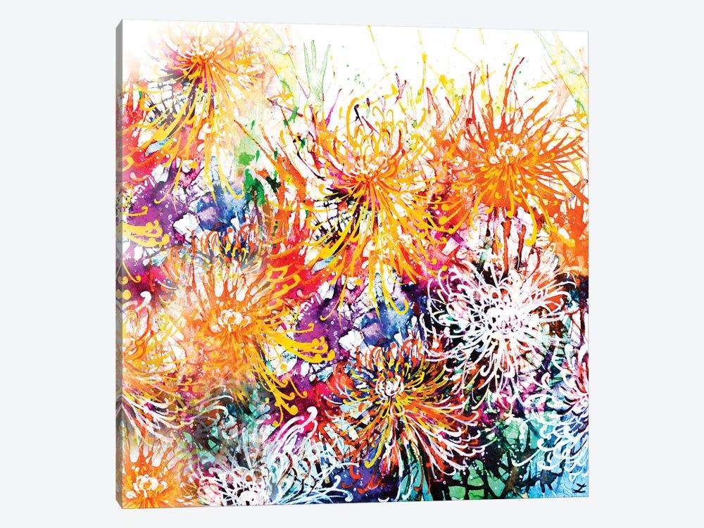 Sunny Chrysanthemums by Zaira Dzhaubaeva 1-piece Canvas Print