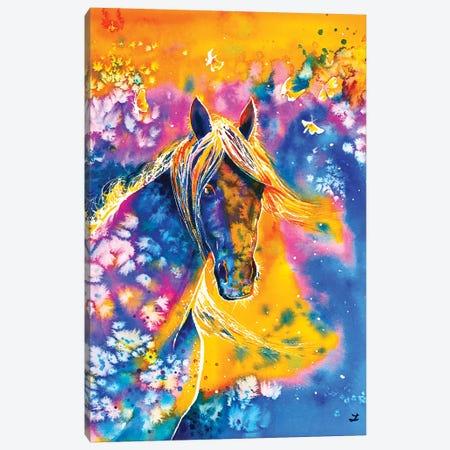Sunset Mustang Canvas Print #ZDZ110} by Zaira Dzhaubaeva Art Print