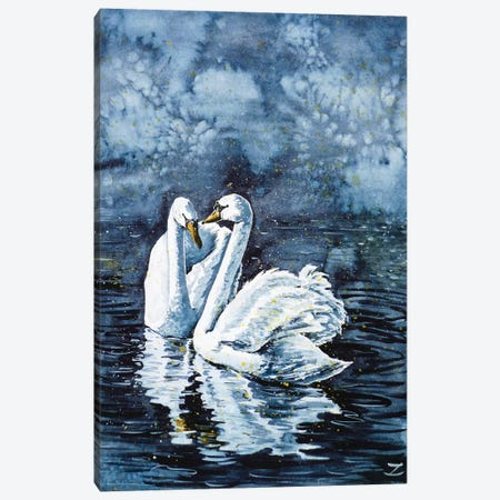 Swan Couple 3-Piece Canvas #ZDZ111} by Zaira Dzhaubaeva Canvas Print