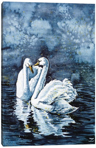 Swan Couple Canvas Art Print