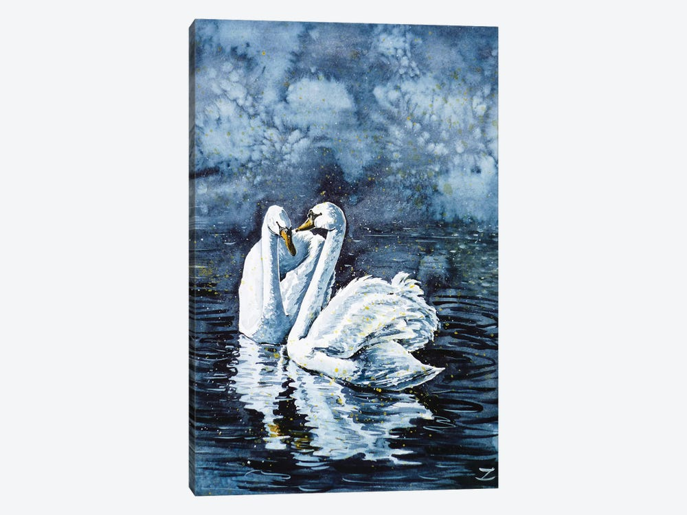 Swan Couple by Zaira Dzhaubaeva 1-piece Art Print