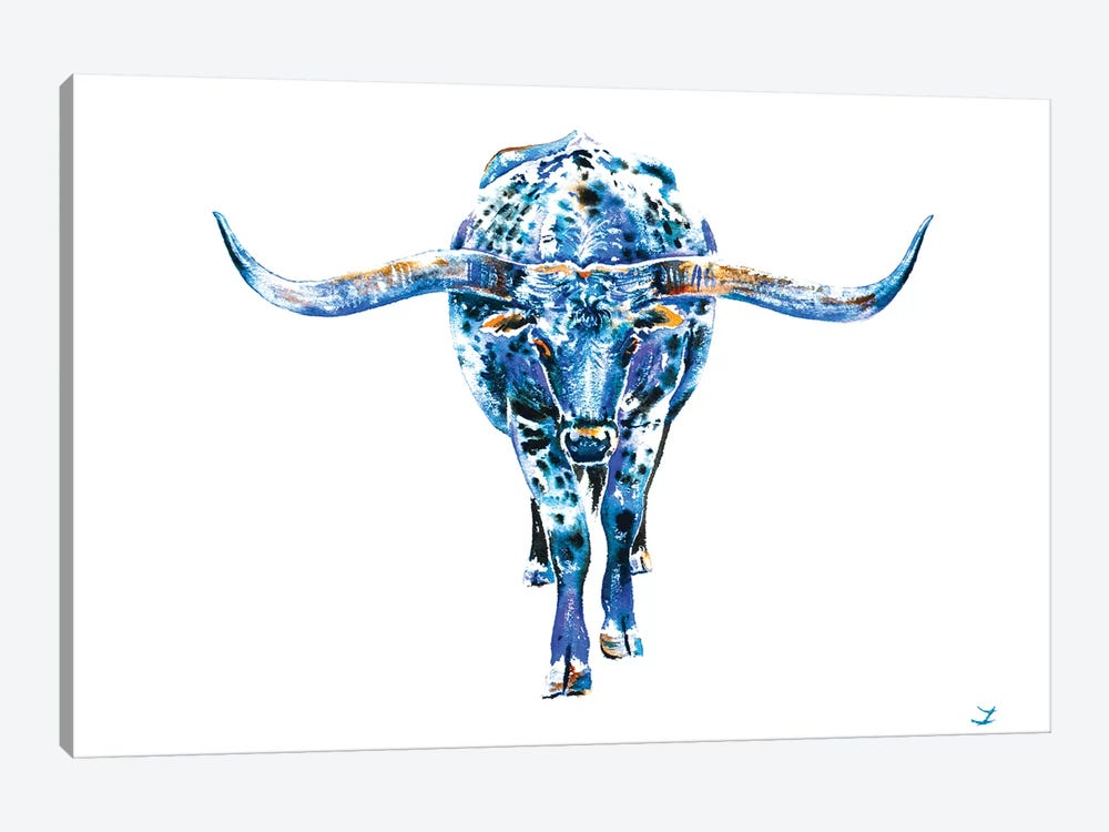 Texas Longhorn by Zaira Dzhaubaeva 1-piece Canvas Wall Art