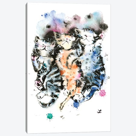 Three Sleeping Kittens Canvas Print #ZDZ114} by Zaira Dzhaubaeva Canvas Artwork