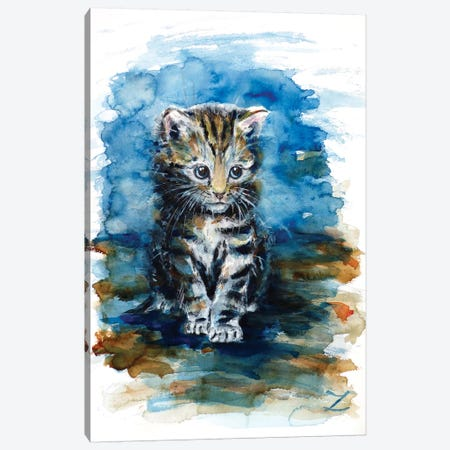 Timid Kitten Canvas Print #ZDZ116} by Zaira Dzhaubaeva Canvas Wall Art