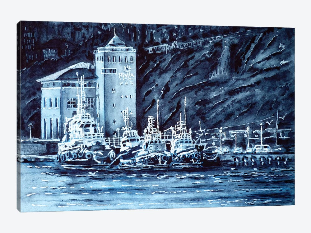 Tugboats by Zaira Dzhaubaeva 1-piece Canvas Print