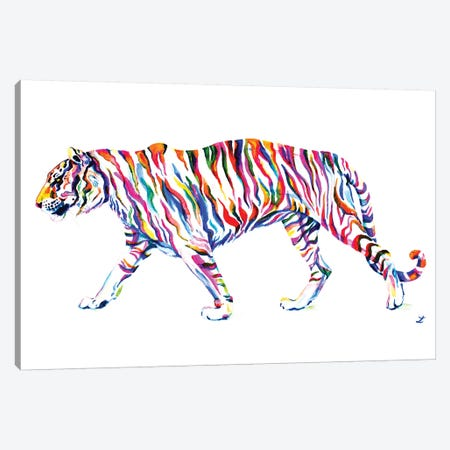 Walking Tiger Canvas Print #ZDZ123} by Zaira Dzhaubaeva Canvas Artwork