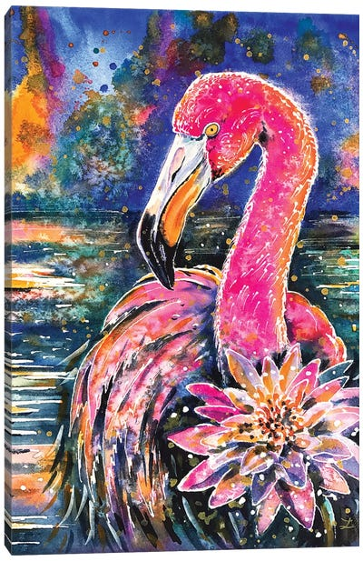 Water Lily And Flamingo Canvas Art Print