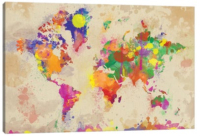 Watercolor World Map On Old Canvas Canvas Art Print