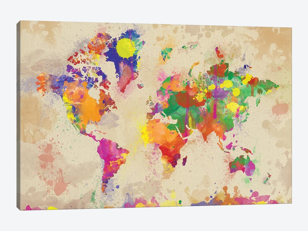 Watercolor World Map On Old Canvas by Zaira Dzhaubaeva 1-piece Canvas Art