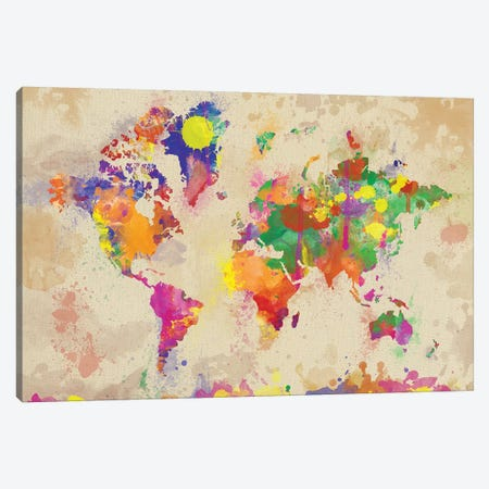 Watercolor World Map On Old Canvas 3-Piece Canvas #ZDZ125} by Zaira Dzhaubaeva Canvas Art Print