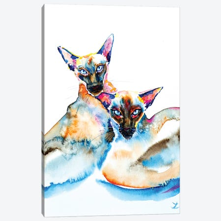 We Are Siamese Canvas Print #ZDZ126} by Zaira Dzhaubaeva Art Print