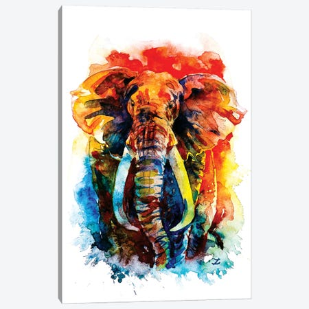 Wise Elephant Canvas Print #ZDZ130} by Zaira Dzhaubaeva Art Print