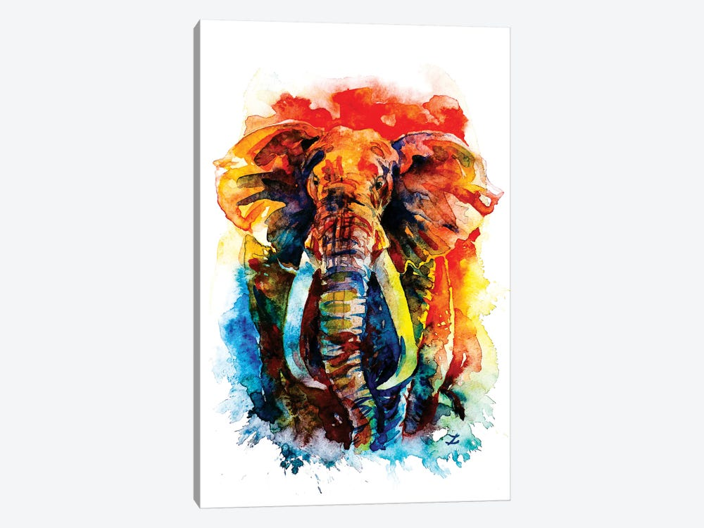 Wise Elephant by Zaira Dzhaubaeva 1-piece Canvas Artwork