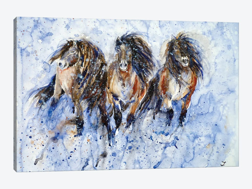 Yakutian Horses In The Snow Storm 1-piece Canvas Art Print