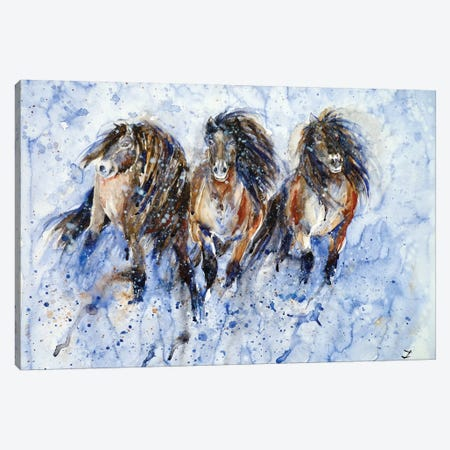 Yakutian Horses In The Snow Storm 3-Piece Canvas #ZDZ131} by Zaira Dzhaubaeva Art Print
