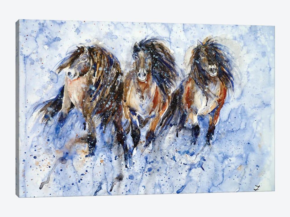 Yakutian Horses In The Snow Storm by Zaira Dzhaubaeva 1-piece Canvas Art Print