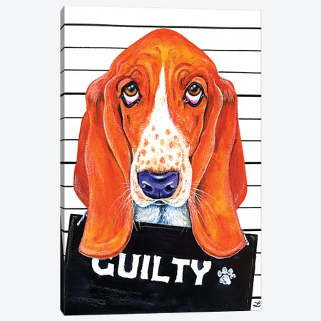 Basset Hound Mugshot   Canvas Print #ZDZ134} by Zaira Dzhaubaeva Canvas Wall Art