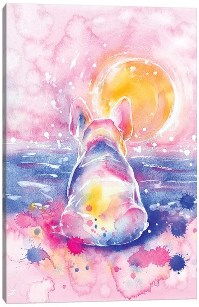 Frenchie on Vacation Watercolor  Canvas Art Print
