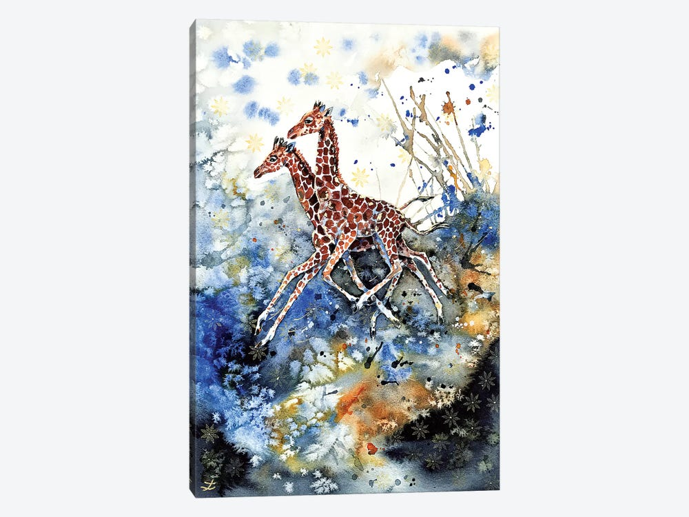 Golden Childhood Playing Giraffe Babies  1-piece Canvas Art