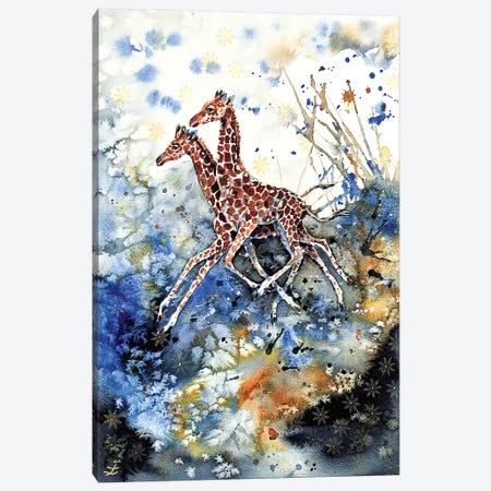 Golden Childhood Playing Giraffe Babies  Canvas Print #ZDZ145} by Zaira Dzhaubaeva Canvas Print