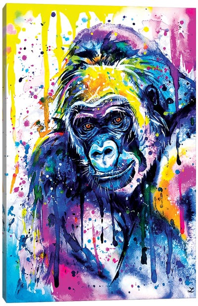 Gorilla Watercolor  Bright Canvas Art Print
