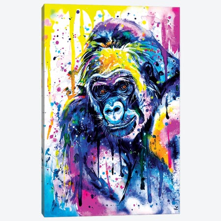 Gorilla Watercolor  Bright Canvas Print #ZDZ146} by Zaira Dzhaubaeva Canvas Art Print