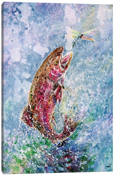 Jump Watercolor   Canvas Art Print