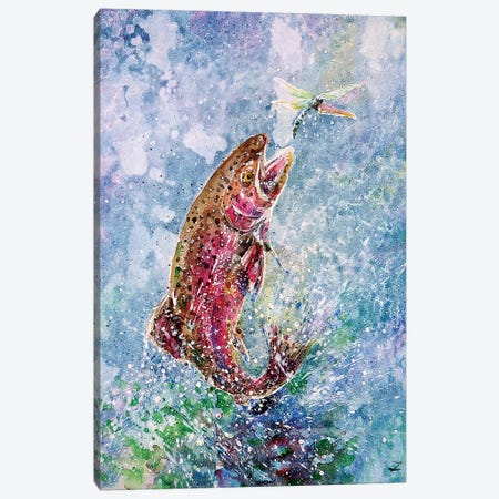 Jump Watercolor   Canvas Print #ZDZ149} by Zaira Dzhaubaeva Canvas Art
