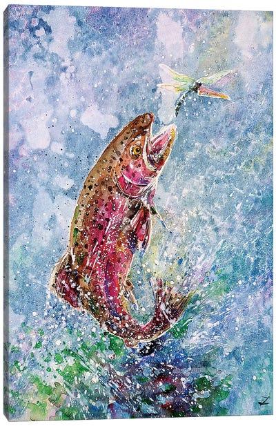 Jump Watercolor   Canvas Art Print