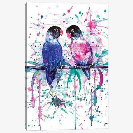 Love is in the Air Lovebirds   Canvas Print #ZDZ151} by Zaira Dzhaubaeva Art Print
