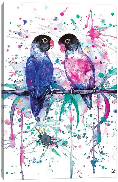 Love is in the Air Lovebirds   Canvas Art Print