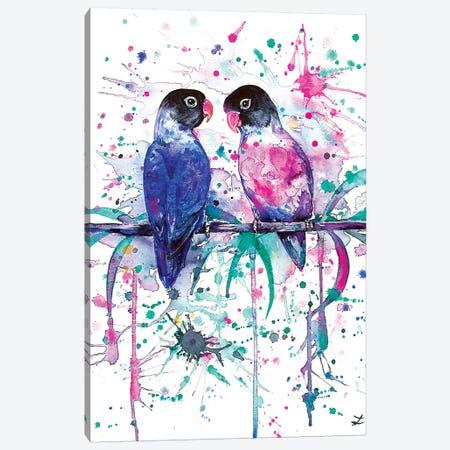 Love is in the Air Lovebirds   Canvas Print #ZDZ151} by Zaira Dzhaubaeva Art Print