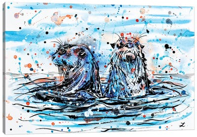 Otters   Canvas Art Print