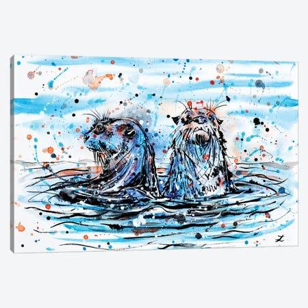 Otters   Canvas Print #ZDZ155} by Zaira Dzhaubaeva Canvas Art