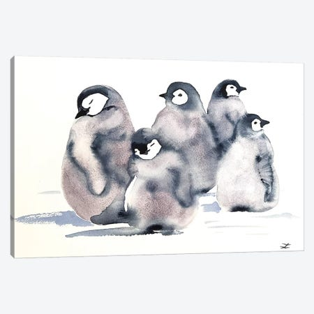 Penguin Crèche Watercolor  Canvas Print #ZDZ157} by Zaira Dzhaubaeva Canvas Art