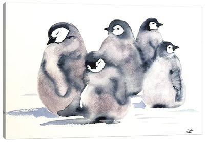 Penguin Crèche Watercolor  Canvas Art Print