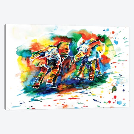 Playing Elephant Babies   Canvas Print #ZDZ158} by Zaira Dzhaubaeva Canvas Art Print