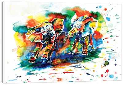Playing Elephant Babies   Canvas Art Print