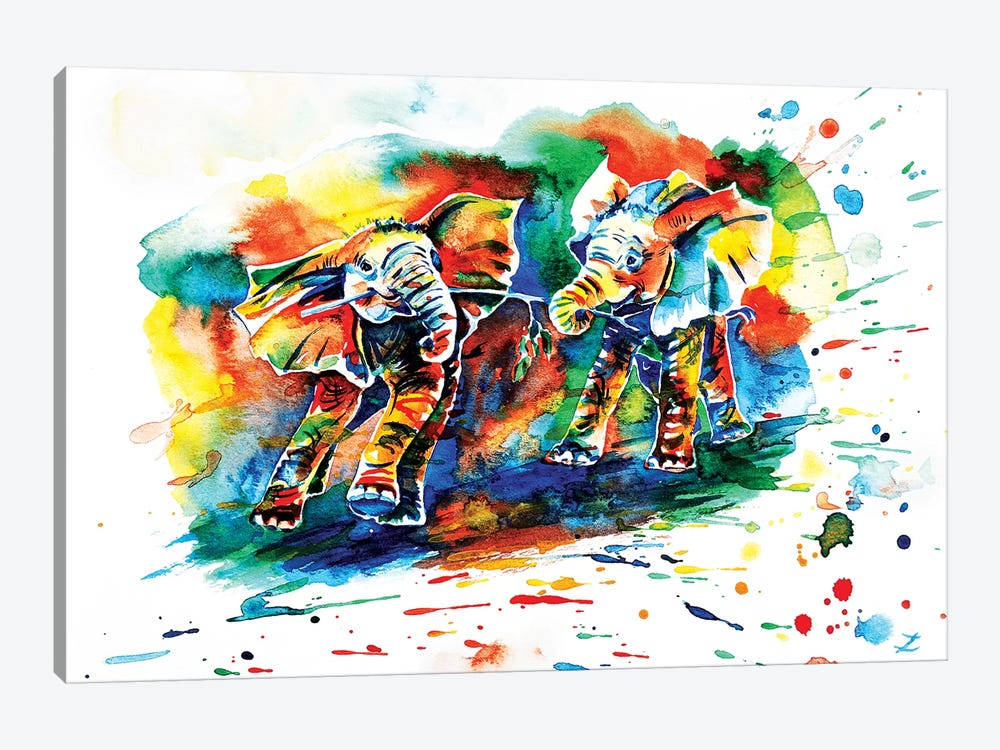 Playing Elephant Babies   1-piece Canvas Art